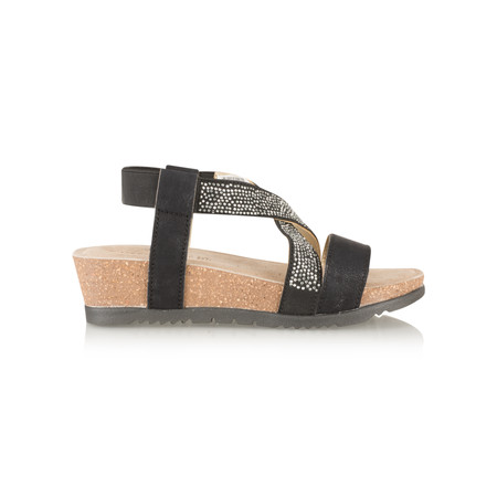Marco Tozzi Crossover Front Low Wedge Sandal - Black