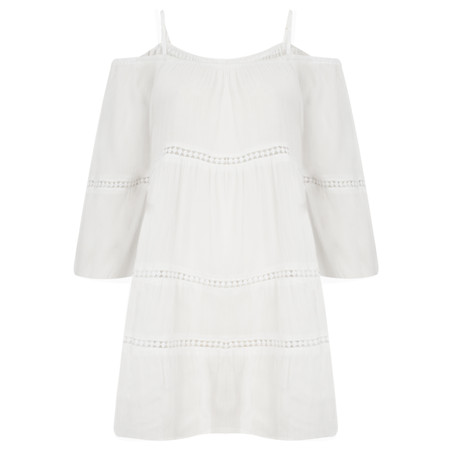 Lara Ethnics Florida Cold Shoulder Plain Tunic - White