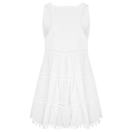 Lara Ethnics Sirna Dress with Pom Poms - White