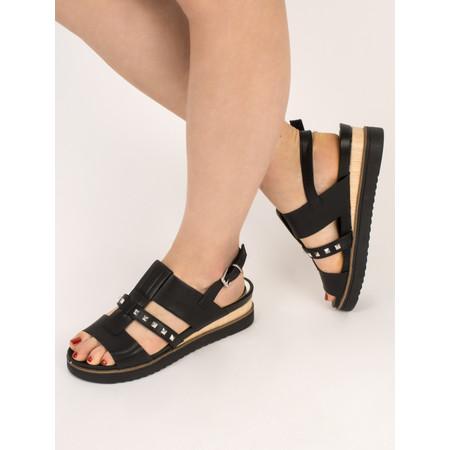 Marco Tozzi Flatform Imit Leather Stud Sandal - Black