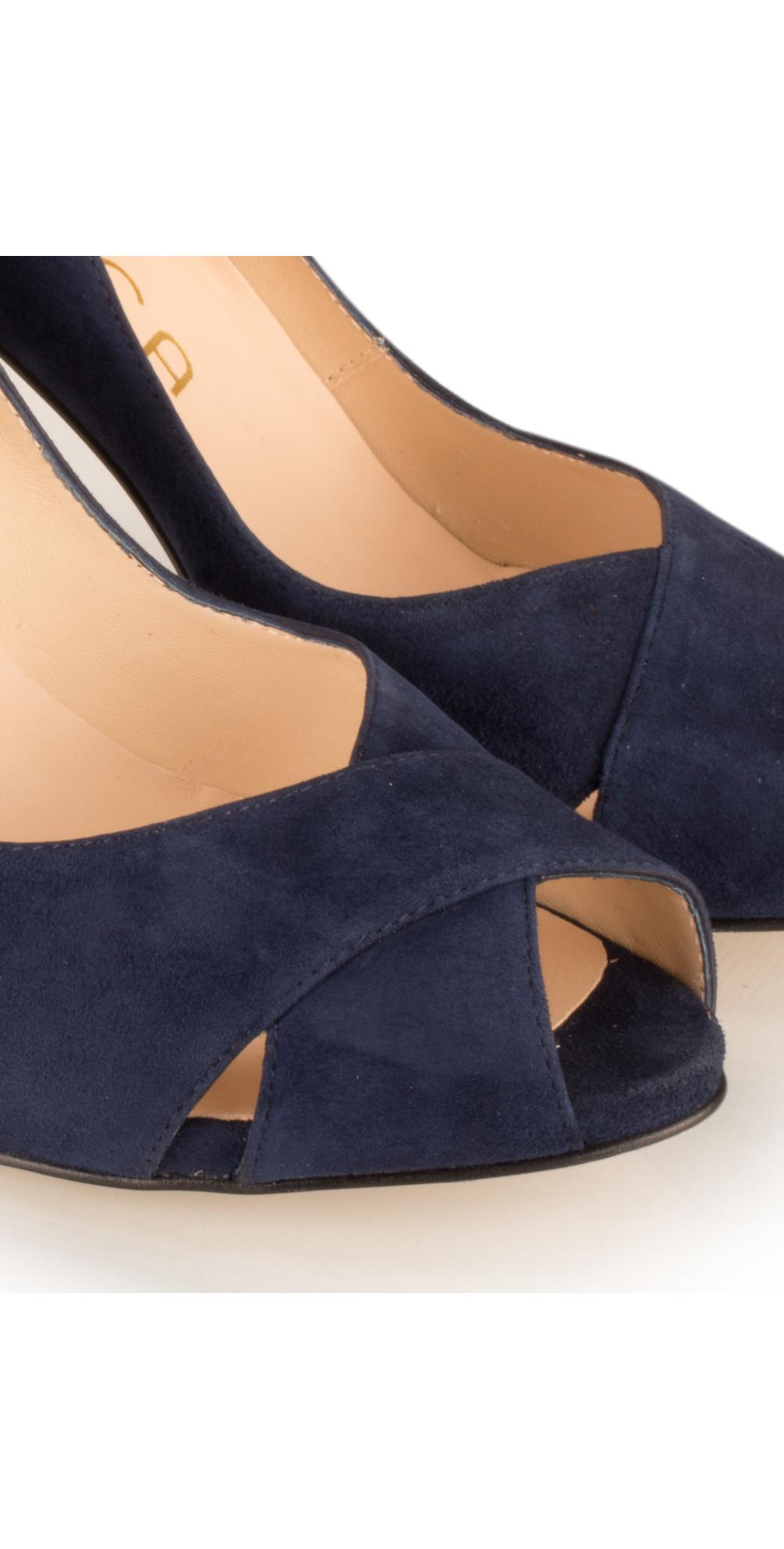 0bcaeae18af6 Unisa Shoes Taner Peep Toe Court Shoe in Ocean Navy
