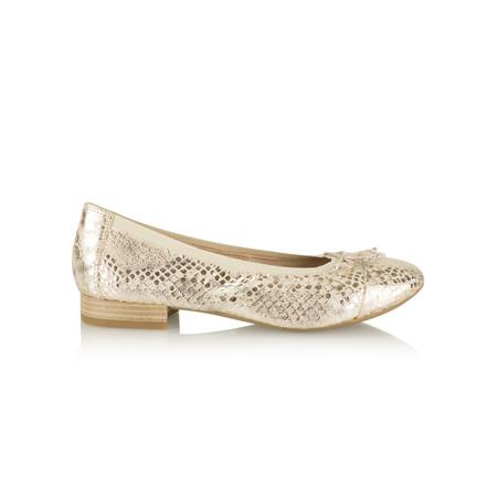 Caprice Footwear Metallic Leather Ballet Pump - Gold