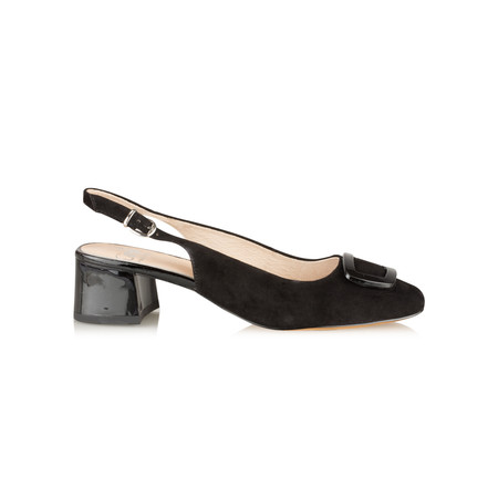 Caprice Footwear Suede Sling Back Shoe With Buckle - Black