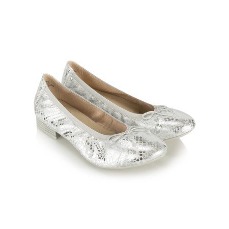 Caprice Footwear Metallic Leather Ballet Pump - Metallic