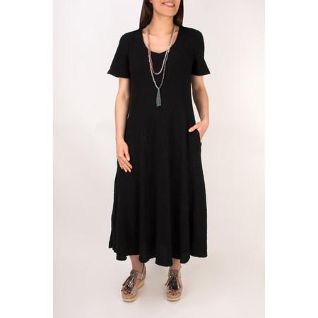 Grizas Linen  Short Sleeve Bias Cut  Dress with Pockets - Black