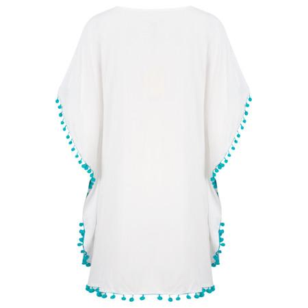 Lara Ethnics Shamsi Oversized Top with Pompoms - White