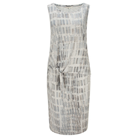 Sandwich Clothing Texture Print Dress with Tie Detail - Grey