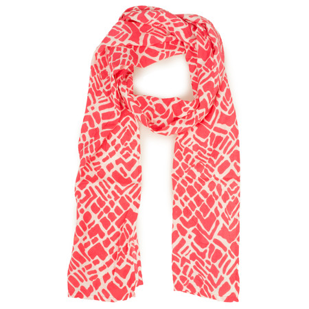 Masai Clothing Abstract Print Cherry Along Scarf - Red