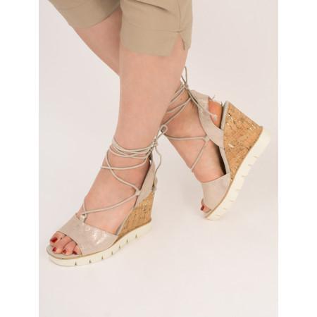 Marco Tozzi Leather Metallic High Wedge Sandal - Beige