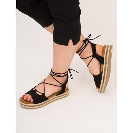 Marco Tozzi Lace Up Espadrille Sandal - Black