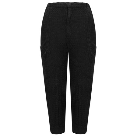 Grizas Linen Easy-fit 7/8  Trouser with Pocket Detail - Black