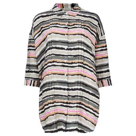 Masai Clothing Idrill Striped Oversized Blouse - Green