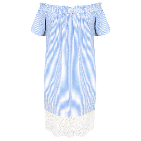 French Connection Belle Stripe Mix Off Shoulder Dress - Blue