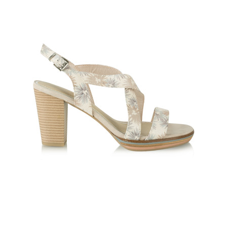 Marco Tozzi Floral High Sandal - Off-white