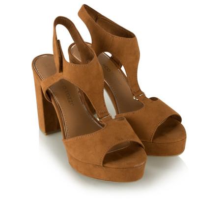 Marco Tozzi High Sandal Block Heel - Brown
