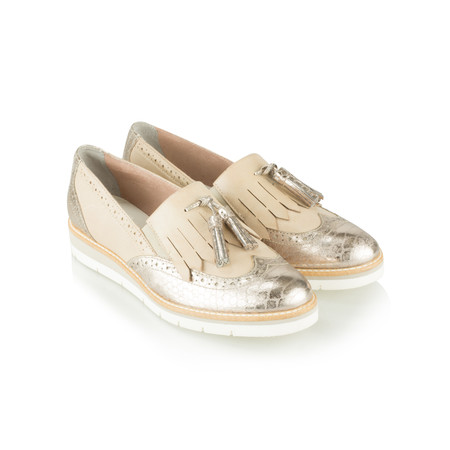 Tamaris  Leather Combi Lofa Shoe - Off-white
