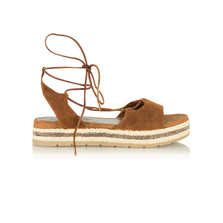 Marco Tozzi Lace Up Espadrille Sandal - Brown