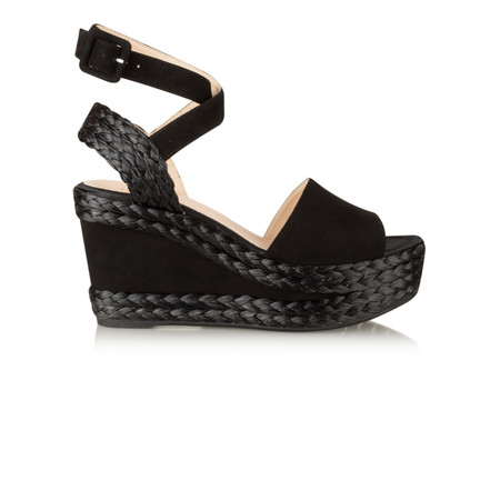 Unisa Shoes Letra High Wedge Sandal - Black