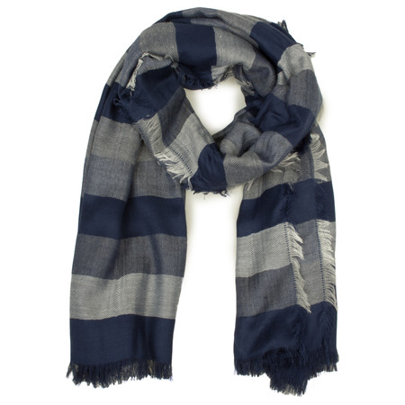 French Connection Striped Drew Scarf - Blue