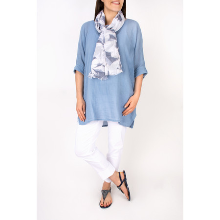 TOC  Bellaby Fine Linen longline T- top - Blue