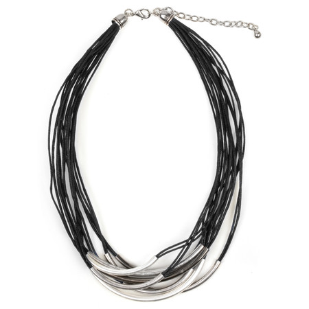 Eliza Gracious Abbey2 Multi Cord Tube Necklace - Black