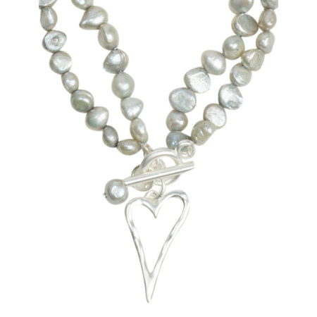 Eliza Gracious May Freshwater Pearl Beaded Heart Necklace - Grey
