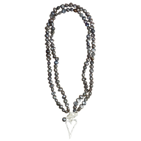 Eliza Gracious May Freshwater Pearl Beaded Heart Necklace - Metallic