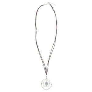 Eliza Gracious Henrietta Suede Cord Circle Pendant Necklace
