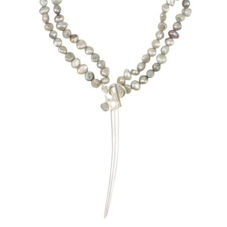 Eliza Gracious Lillian Freshwater Pearl Horn Pendant Necklace - Grey