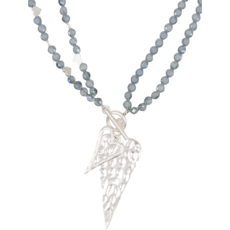 Eliza Gracious Rachael Crystal Beaded Heart Pendant Necklace - Blue