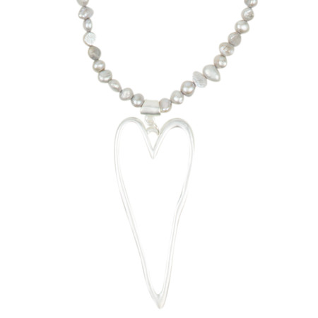 Eliza Gracious Louisa Freshwater Pearl Heart Pendant Necklace - Grey