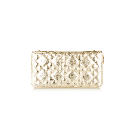 AlexMax Silvana Quilted Metallic Clutch - Gold