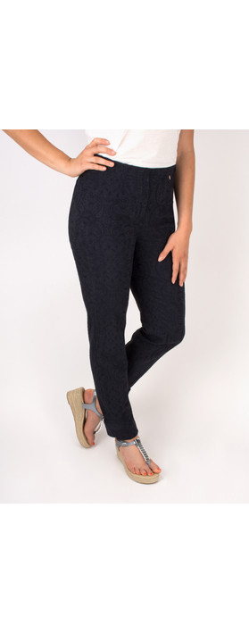Robell Trousers Marie Jacquard Stretch Trouser Navy