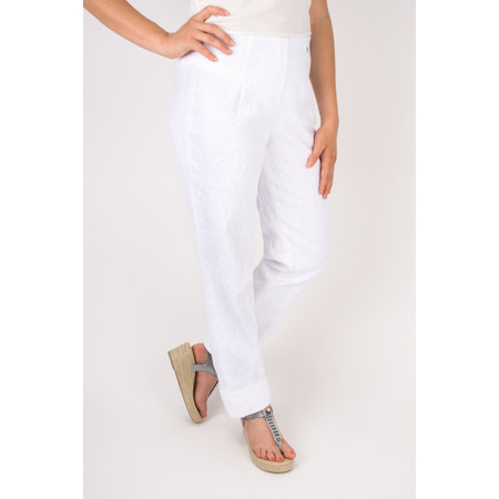 Robell Trousers Marie Jacquard Stretch Trouser - White