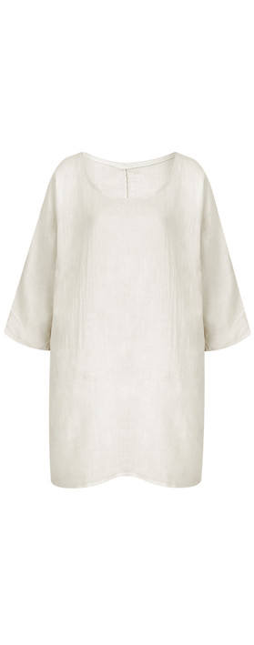 TOC  Bellaby Fine Linen longline T- top Stone