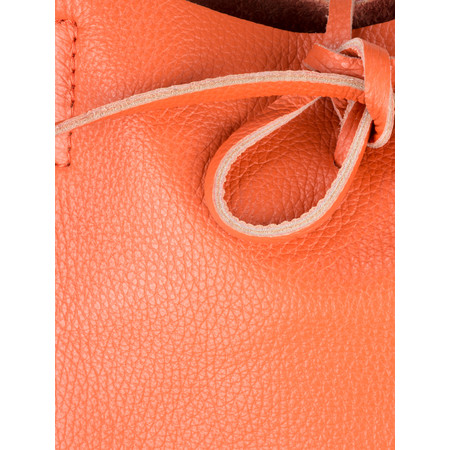 Pure White Ribera Leather Tote Bag  - Orange