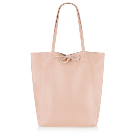 Pure White Ribera Leather Tote Bag  - Pink
