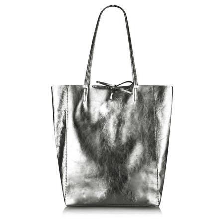 Pure White Ribera Metallic Leather Tote Bag - Metallic