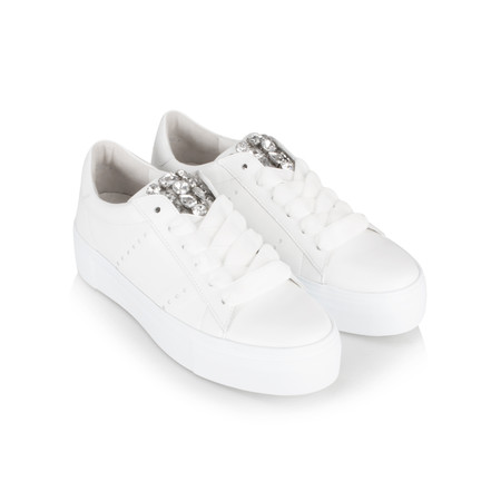 Kennel Und Schmenger Big Leather and Crystal Luxe Trainer Shoe - White