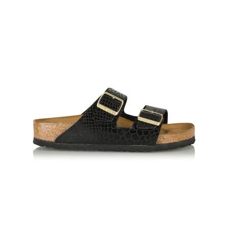 Birkenstock Arizona Birko Flor Shiny Snake Sandal - Black