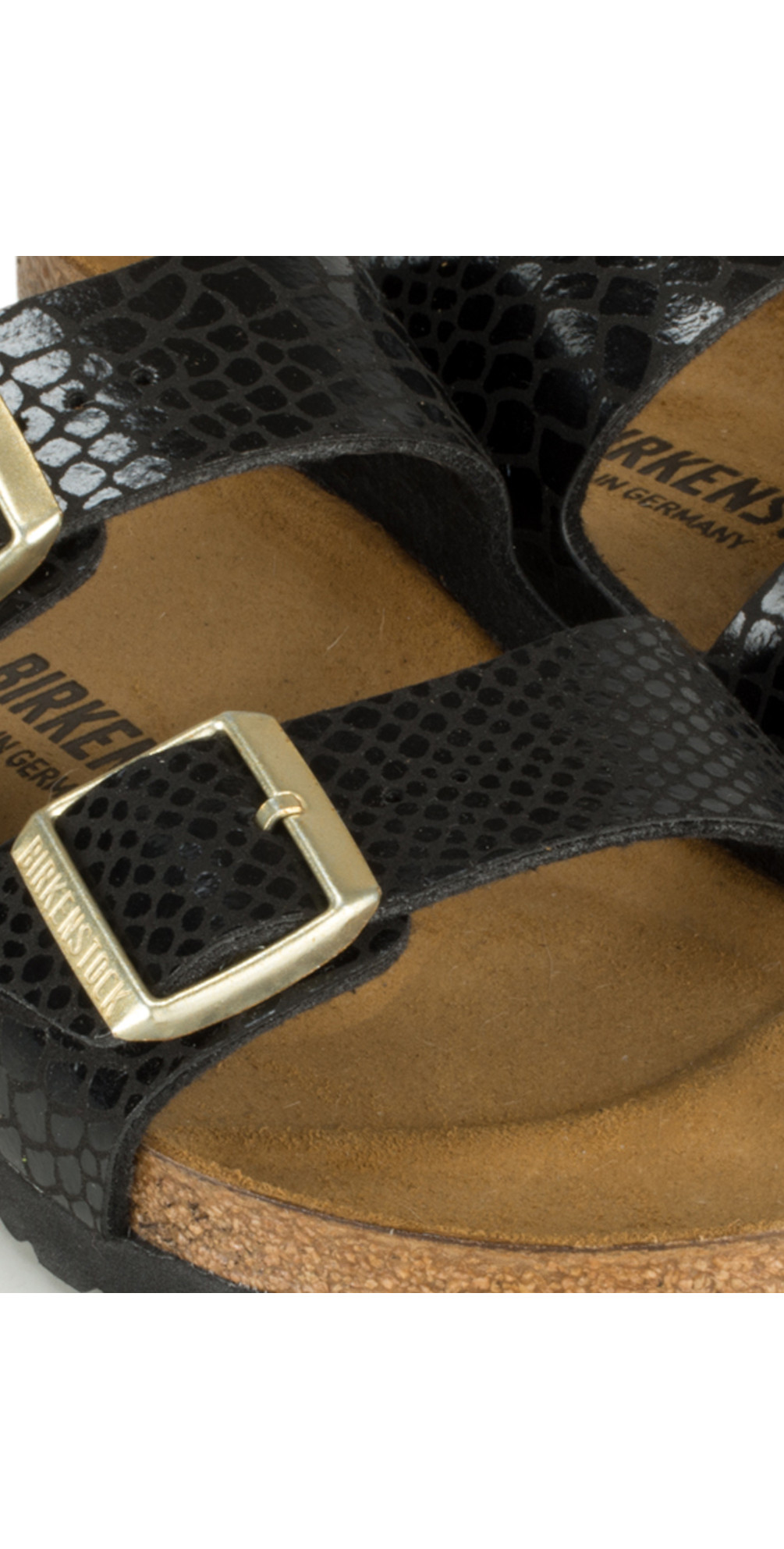 599d0b1f1aa Birkenstock Arizona Birko Flor Shiny Snake Sandal in Black