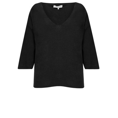 Great Plains Kitten Play V Neck Slouch Knitted Top - Black
