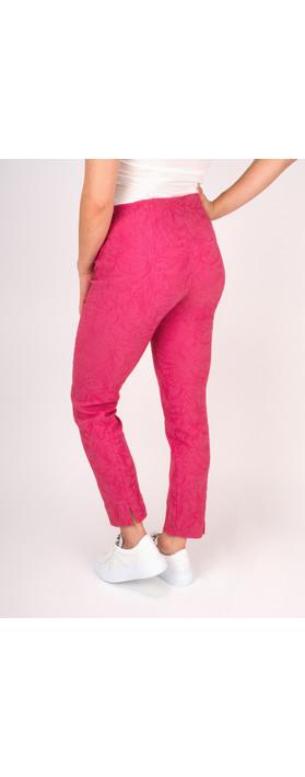 Robell Trousers Rose 09 Jacquard Slimfit 7/8 Trouser Magenta
