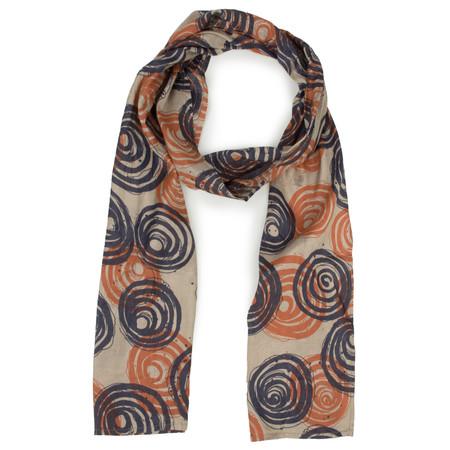 Masai Clothing Along Printed Swirl Scarf - Orange