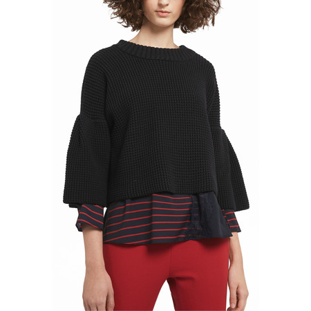 French Connection Ellie Waffle Knit Crew Neck Jumper - Blue