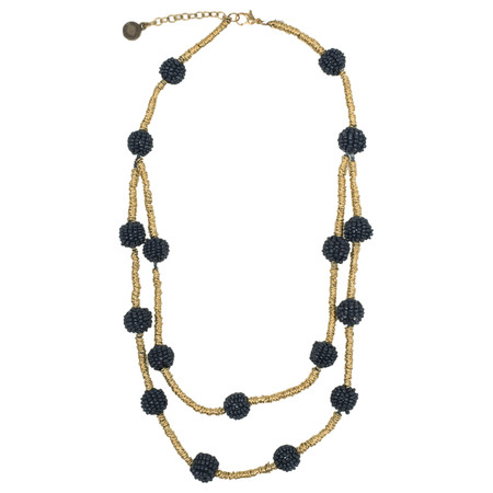 Sandwich Clothing Multi Beaded Necklace - Blue