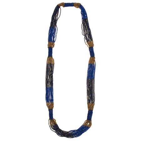 Sandwich Clothing Multi Strand Beaded Necklace - Blue