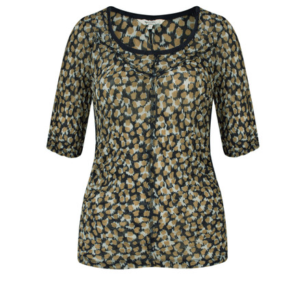 Sandwich Clothing Fine Netting Print Top - Beige