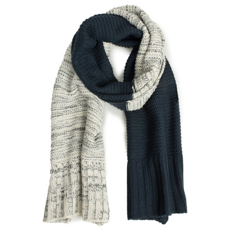 Sandwich Clothing Two Tone Knitted Scarf - Blue