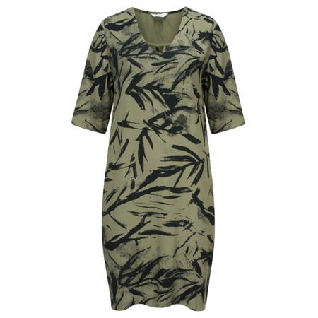 Yaya Printed Tie Waist Dress - Beige